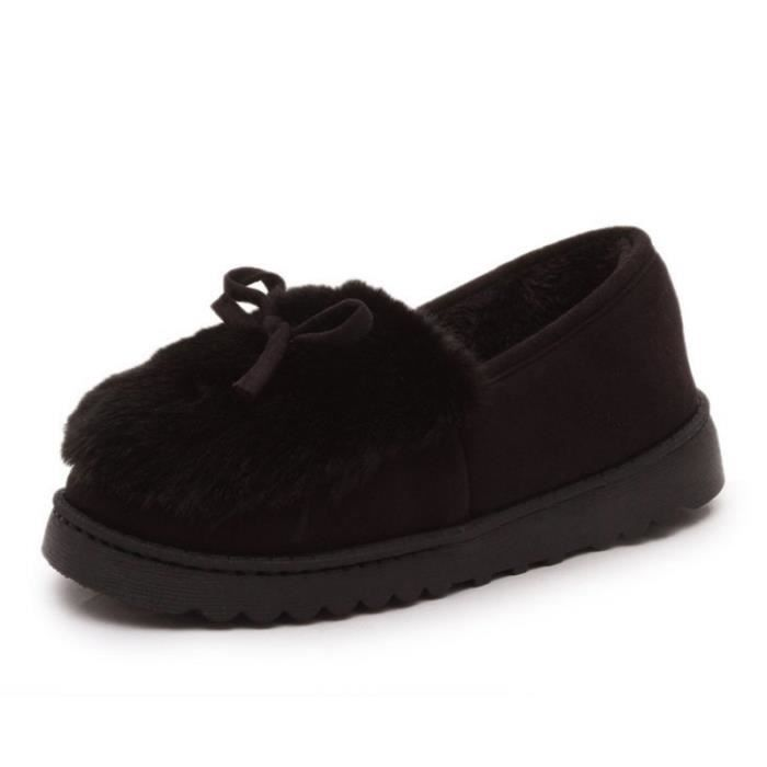 épaisé Hiver XZ065Noir39 Femme Chaussures Chaussures Chaussure fond LKG Femme Peluche OYxRqqpt4w