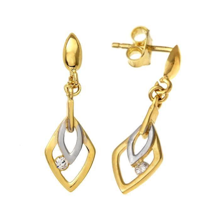 Revoni - Boucles d'oreilles en or jaune et blanc 9 carats et zircons cubiques, motif feuille