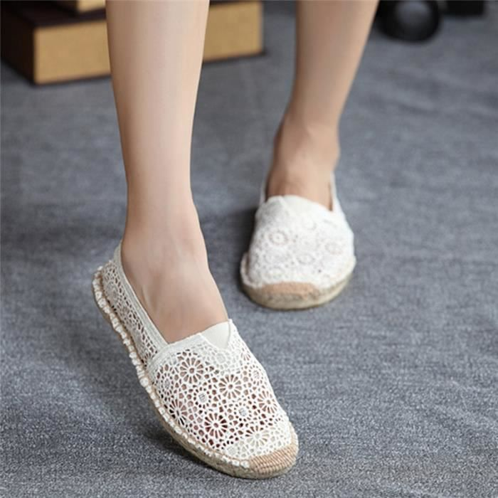 Chic design femmes fille chaussures plates Slip-on évider Chaussures Casual