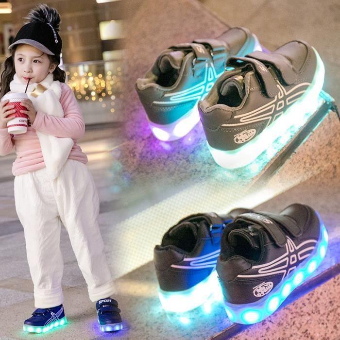 Baskets Enfants chaussures Garçons filles LED lumières 7 Couleur USB Chaussures de sport