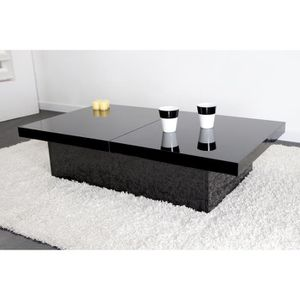 Table basse carre laquee blanc achat vente pas cher - Table basse laquee noire ...