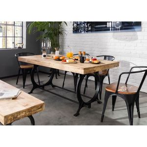 TABLE À MANGER SEULE Table à manger 220x100cm - Fer et bois massif recy