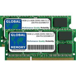 MÉMOIRE RAM 16Go (2 x 8Go) DDR3 1600MHz PC3-12800 204-PIN SODI