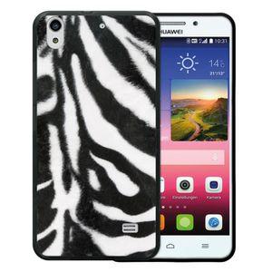 online shop new york affordable price WoowCase - Coque [ Huawei Ascend G620S ] Noir en GEL Flex Silicone TPU  Animaux Imprimé zèbre