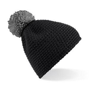 BONNET - CAGOULE Bonnet noir pompon gris Effet Fait Main Beechfield 87fddcfb55a