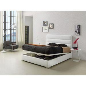 STRUCTURE DE LIT Lit coffre HUASCA 140x190-200cm en PU blanc - L 20
