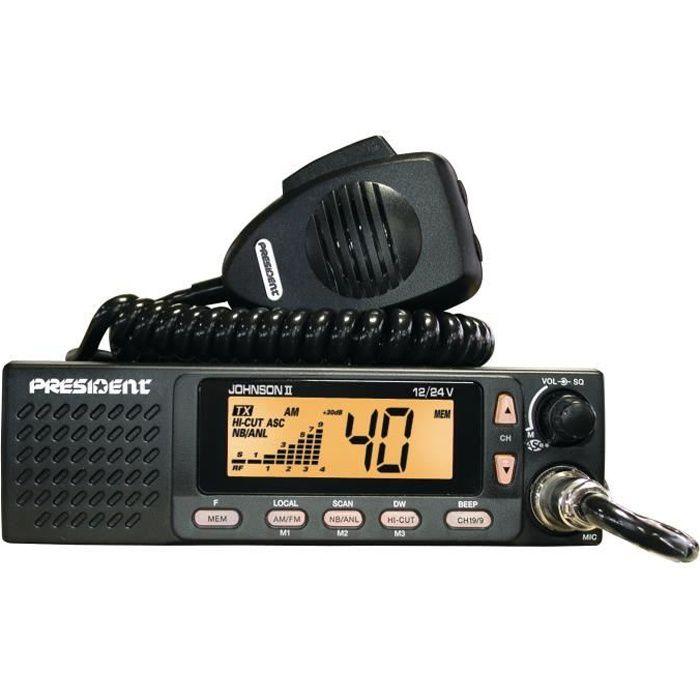 PRESIDENT Station de radio CB Johnson II ASC - 40 cannaux AM / FM - Multinormes