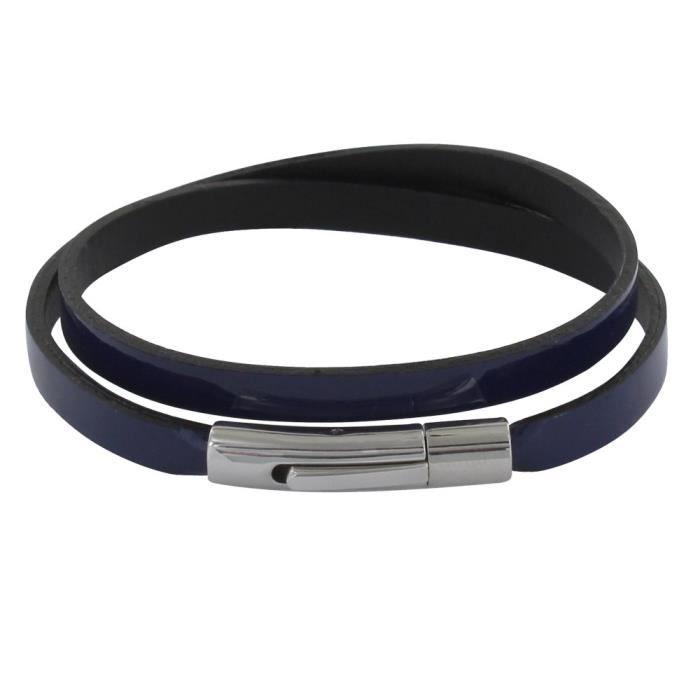Les Poulettes Bijoux - Bracelet Femme Cuir Vernis Plat - Bleu Navy