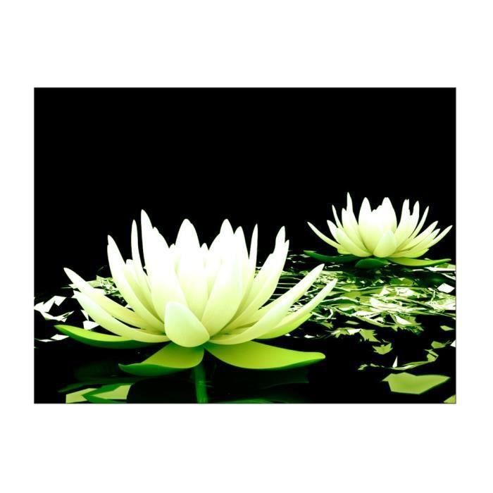 1 Panneau Toile En Toile Fleur Lotus Blanc En Noir Art De Mur Art
