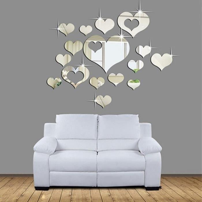 spciale durable 16 pcs 3d amour coeur miroir surface art acrylique sticker adhsifs muraux decoration interieur dcor e