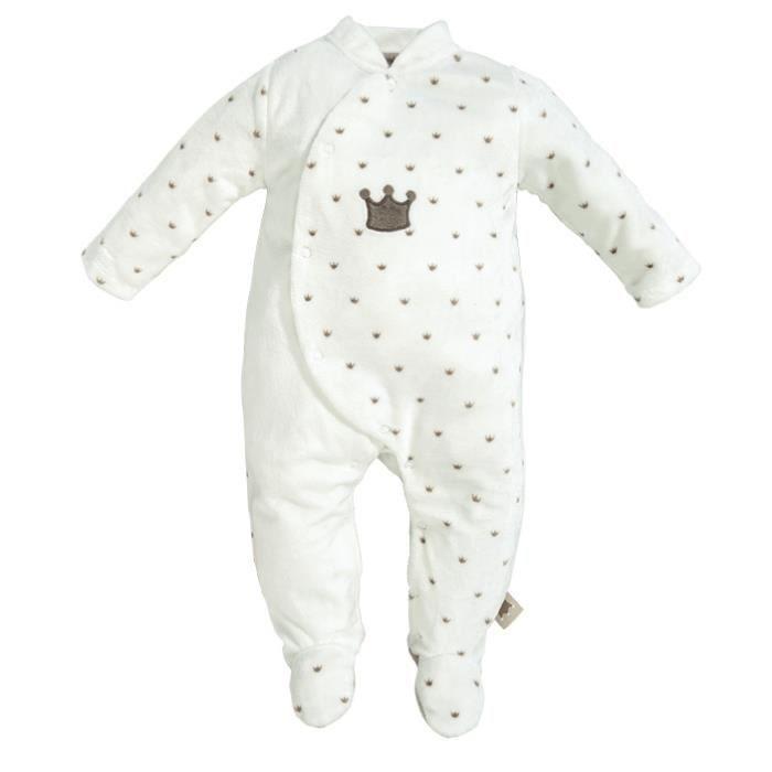 Pyjama bébé Mixte NATTOU - 3 mois Blanc Couronne 3 mois - Achat ... e07c38e1d4b