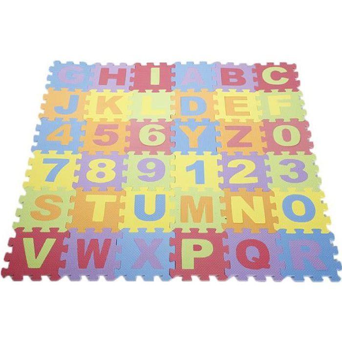 Lot De 36 Piece De Tapis Puzzle Lette Chiffre Epais 9mm Jouet Pour