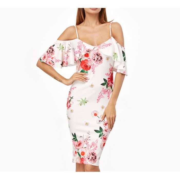 10ab875481d DEte Femmes Robe mode Blanc Rose Coréenne Imprimer Vêtements épaule froide  Courtes À Volants Manches Genou
