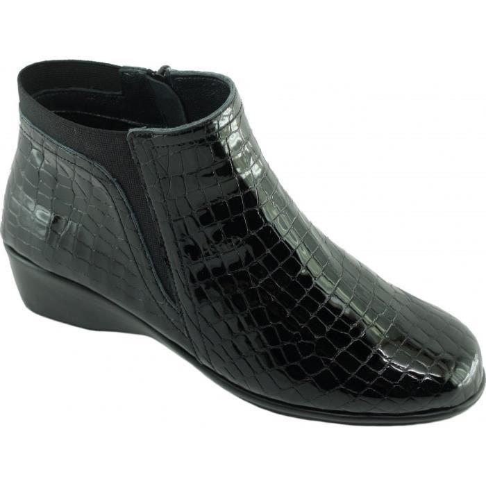 SWEAR - Bottines cuir Plissé fermeture zip grand confort chaussures Femme pied sensible marque Aérobics cuir ciré froissé gris C7KzgAalOL