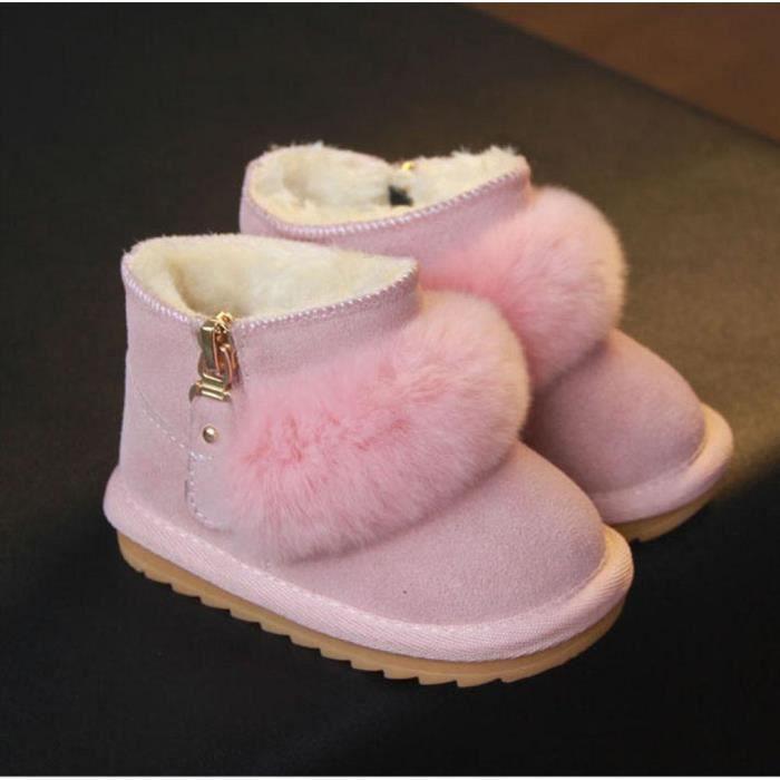 GIFT TOWER Bottines Bébé Fille Garçon Chaud Hiver Boots de Neige Velours Chaussures Marche Premier Pas Antidérapant Rose a0rISaZog