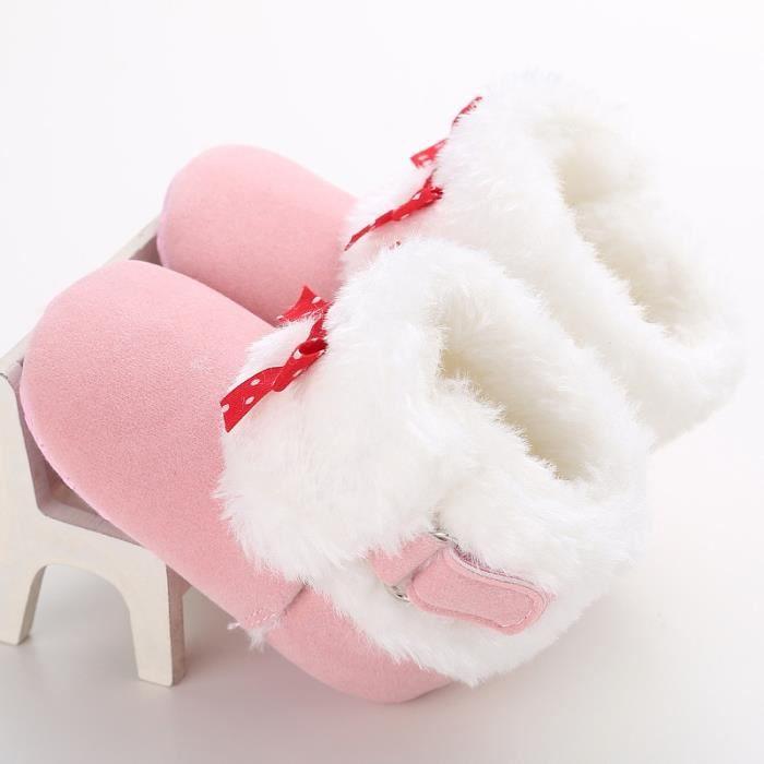 Hiver Bébé Bottes de neige Tendance Loisirs Bowknot Chaussures de bébé en bas âge-rose