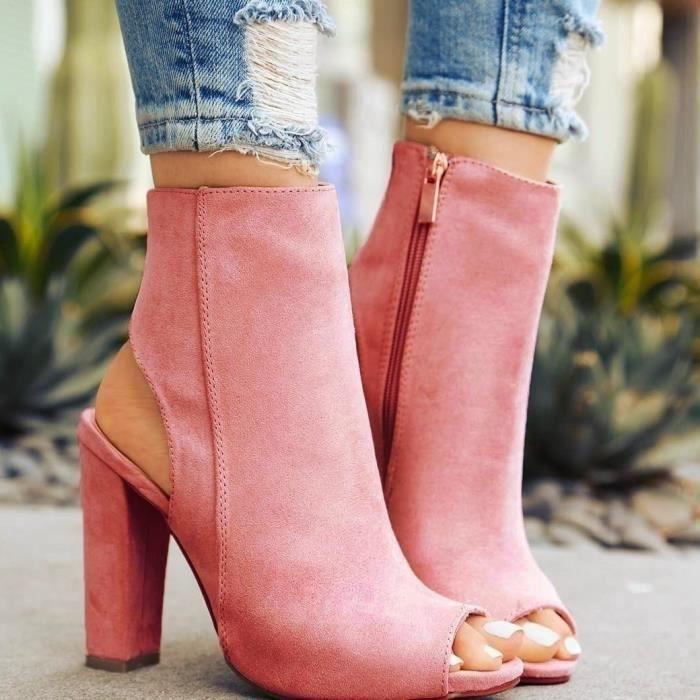 d72acb6a1a206e Summer Femme Bottes Bout ouvert Talons hauts Sandales Femme Chaussures