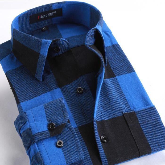 1267d2d5a9408 Chemise en Flanelle pour Homme à Carreaux Bleu S