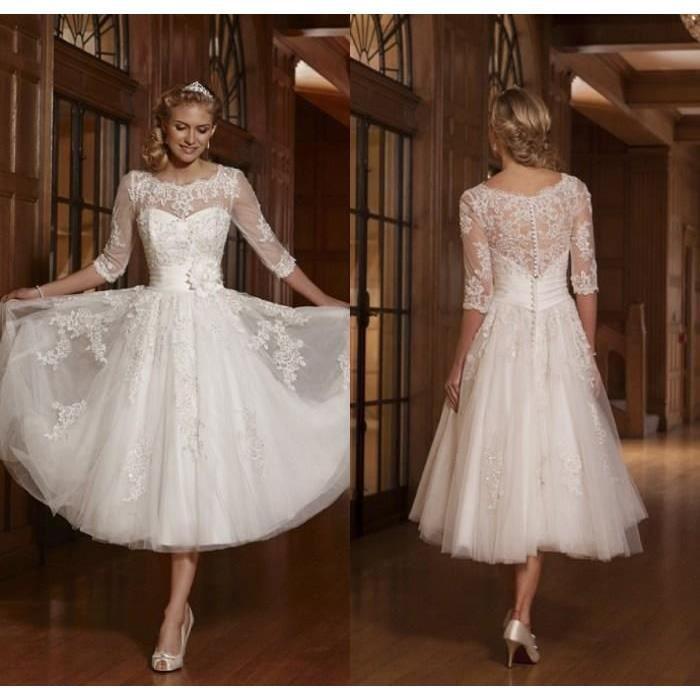 Robe De Mariée Courte 34 à Manches Longues En Dentelle Perlé Wedding Dresse Emilie Mariage