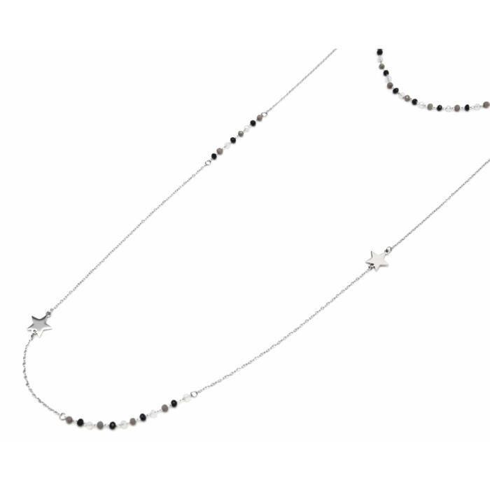 CC1977F - Collier Double Fine Chaîne Acier Argenté avec Perles Noir/Gris et Etoiles
