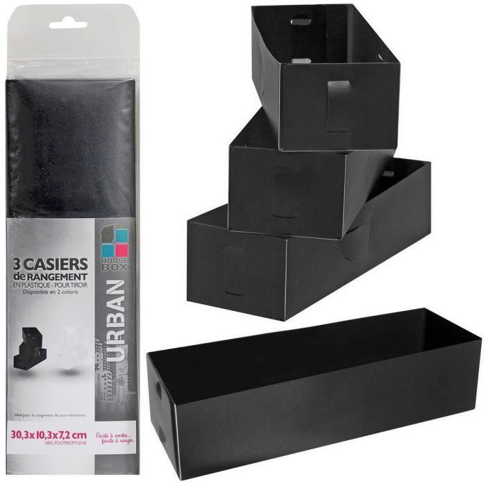 set 3 casiers de rangement pour tiroir trieur documents coloris noir achat vente boite de