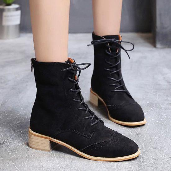 Bottes Suede Cuir Épais Plates Cheville Mode Chaussures Femme Noir N0OPy8mwnv