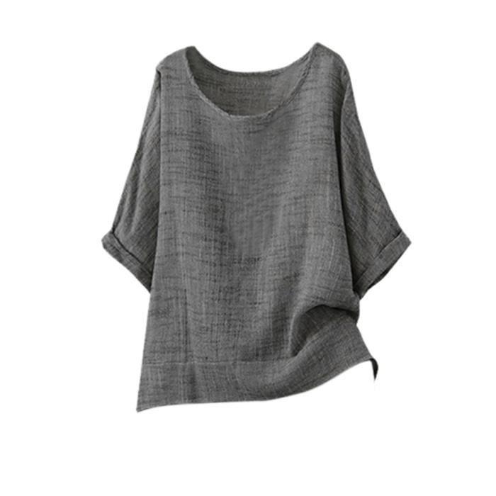 Femmes shirt T Gris Col Rond Manches Décontracté Été Coton Chemisier En Courtes Tops Lin rrPwqfgxR