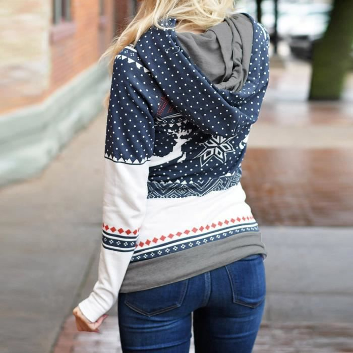 Noël À Imprimer T Sweat Capuche Hauts Points Foncé Zipper Bleu Chemisier shirt Femmes Pull rwqnHxrf1