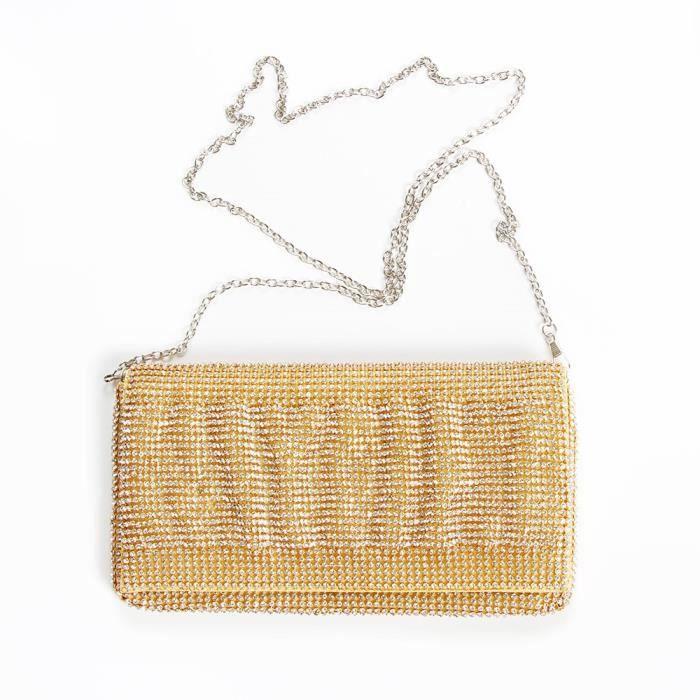 Bourse dembrayage soir sac à main mousseux cristal strass EN3A1