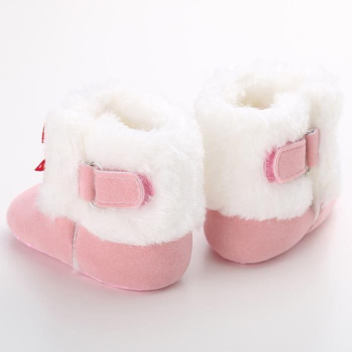 Hiver Bébé Bottes de neige Tendance Loisirs Bowknot Chaussures de bébé en bas âge-rose wAIGZa