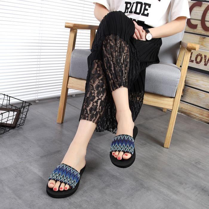 Femmes National Style Sandales D'été Intérieur Extérieur Flip-flops Plage Chaussures @LJJ80227871BU I9e4Li