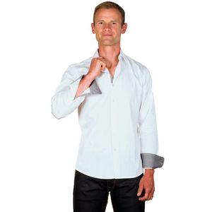 a9317430d4d1a UGHOLIN Chemise Homme Unie Blanche Coton Contraste Gris Coupe Ajustée
