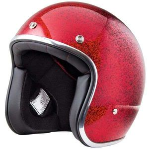 CASQUE MOTO SCOOTER Casque Stormer PEARL ROUGE PAILLETTE