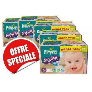 Maxi Giga Pack Jumeaux 615 Couches Pampers de la gamme Active Fit ... f084667a807