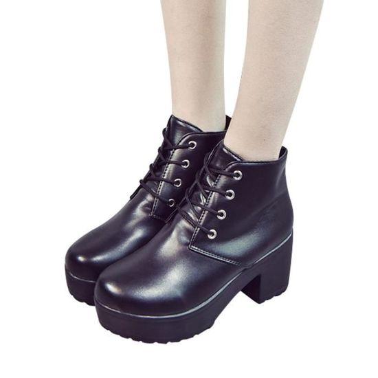 Plat Lansman Bottes Cuir Casual Mode En Femme Court Pour Dames Cheville Em22488 chaussures Chaussures uOPZikX