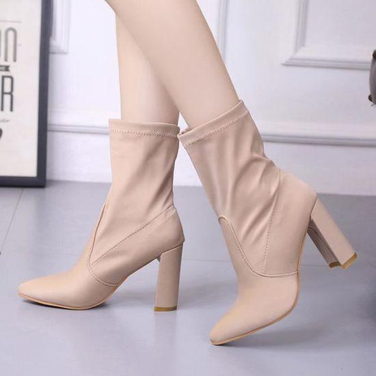 Mode Femme Haut Bottes talon dames classique stretch Bottes Tissu cheville Beige Beige - Achat / Vente botte