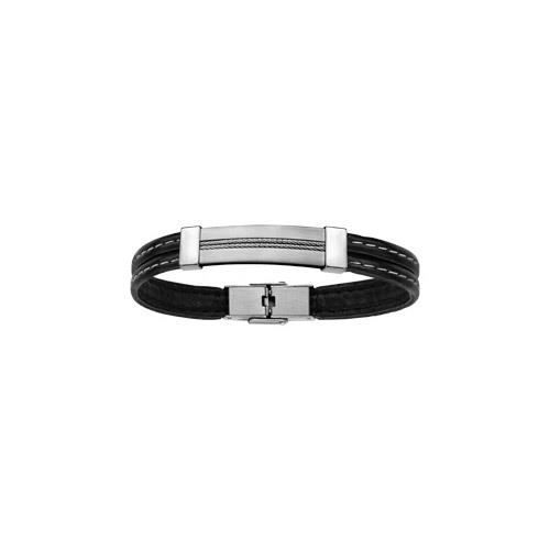 Bracelet acier et cuir noir avec plaque didentité