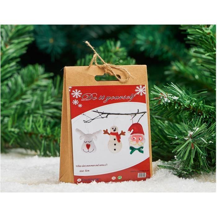 Set de 3 personnages de Noël à composer en feutrine - H 8 cm - Rouge et blanc