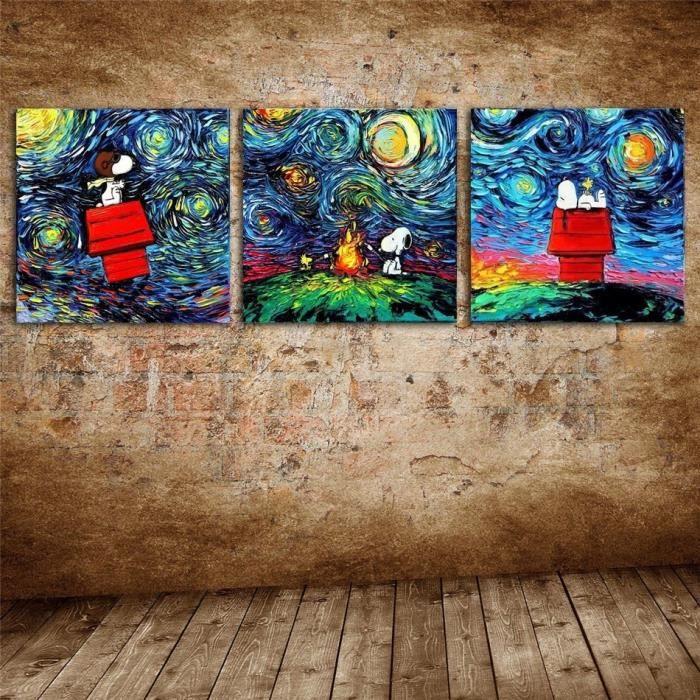 Cadre Wall Tableau Art L'huile À Toile Hd Imprimer Van Moderne Sans Peinture Snoopy Déco Gogh nPk8w0O