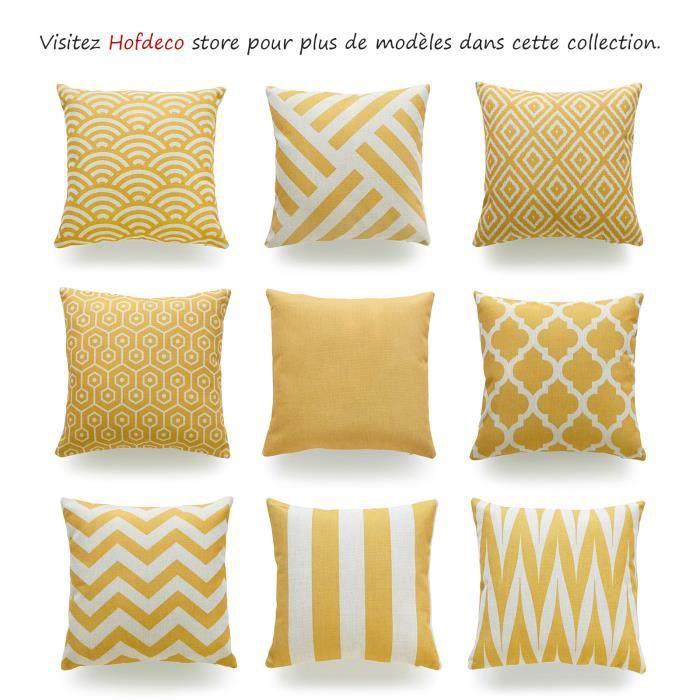 hofdeco lot de 2 housse de coussin d coratif moutarde jaune g om trique balance jaune coton lin. Black Bedroom Furniture Sets. Home Design Ideas