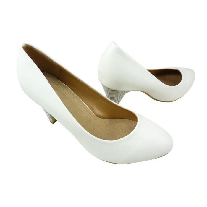 regard détaillé 17b1c 0cd7e Chaussures femme à talons Escarp... Blanc Blanc Blanc ...