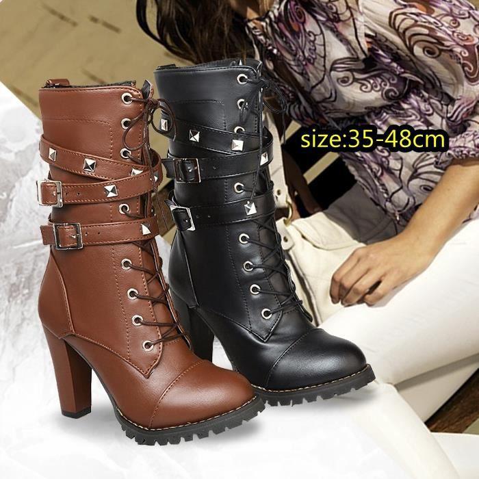 Femme L'automne et l'hiver Chaussures à Talons Hauts à Lacets Bottes à Talons Rivets Dentelle Bottes de Moto Chaussures Martin Boots