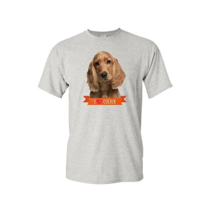 88efacd580718 T-shirt col rond enfant i love cocker gris 5-6-ans Gris Gris - Achat ...