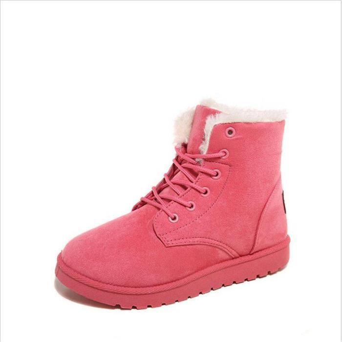 Bottine Femme hiver chaud hiver Coton peluche boots ZX-XZ002Rouge-39