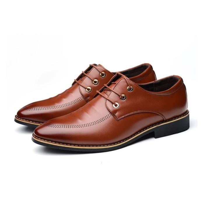 JOZSI Chaussures Hommes Cuir Haut qualité Classique Homme chaussure de ville ZX-XZ202Rouge38