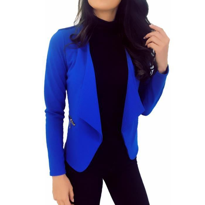 d46359c88408d dmarkez-vous - Veste de BLAZER femme avec poches et zip doré - (TU - bleu  royal)
