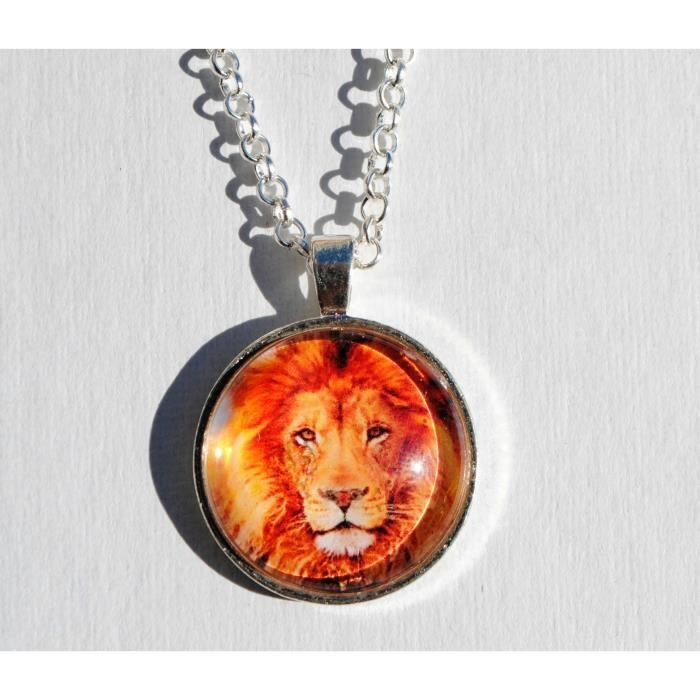 Womens King Of The Jungle Lion Glass Dome Circle Pendant Necklace With 24 Inch Chain VHB8Y