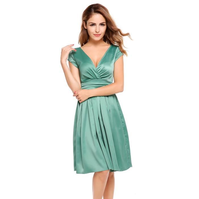 Robe de femme Casual Cap Sleeve Solid Elegant V Neck Party Swing
