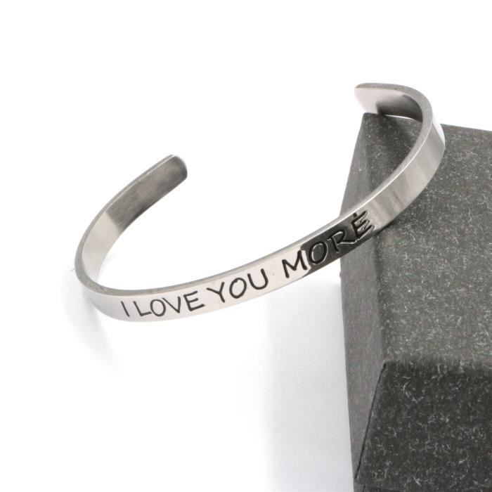 Womens Cuff Bracelet For friend Bangles Jewelry Gift I Love You More Stainless Steel Engraved Insp GJ6GK