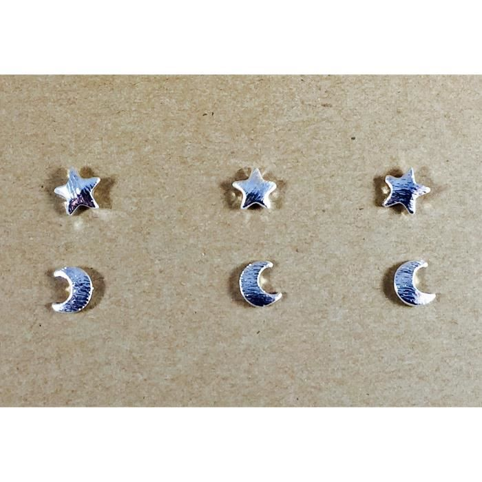 Womens Moons And Stars Celestial Sky Stud Earrings Set   Pairs And Spares By Dorinta U9GCB